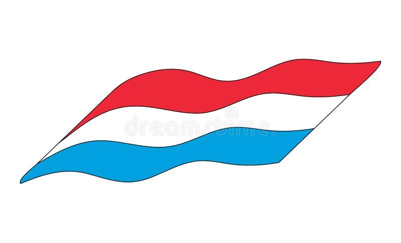Design för symbol för Luxemborg flagga som enkel isoleras på vit bakgrund vektor illustrationer