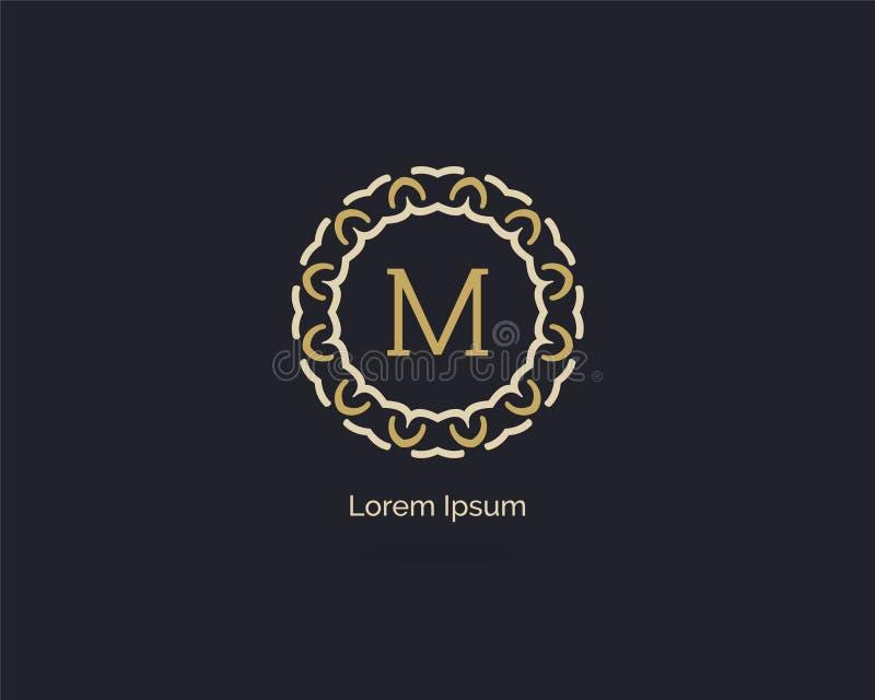Design för symbol för skönhetsmedelmärkesbokstav M Bokstavslogo för lyx M Dekorativ och dekorativ monogram för vektorillustration arkivbild
