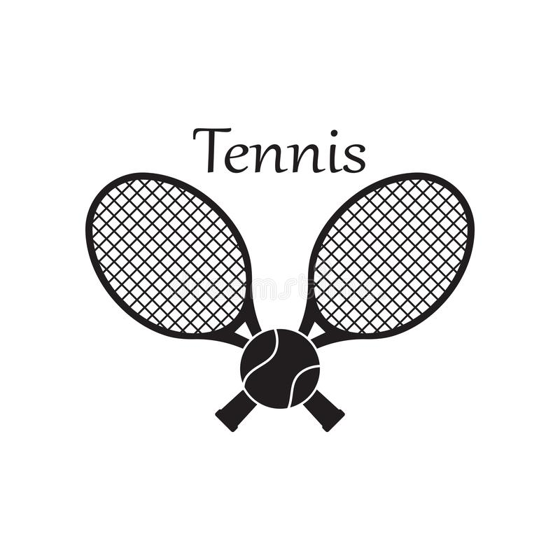 Design för symbol för tennissportlogo, emblemmall stock illustrationer