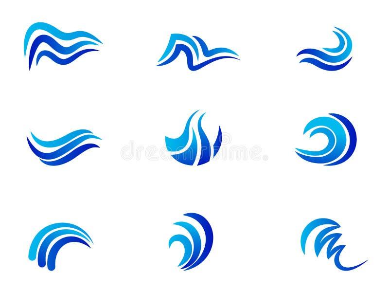 Design för symbol för vektor för symbol för blått vatten för logo för havshavvågor vektor illustrationer