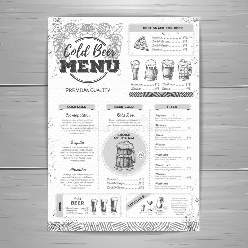 Design för tappningölmeny stock illustrationer