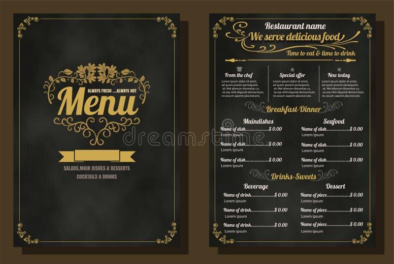 Design för tappning för restaurangmatmeny med svart tavlabakgrund stock illustrationer