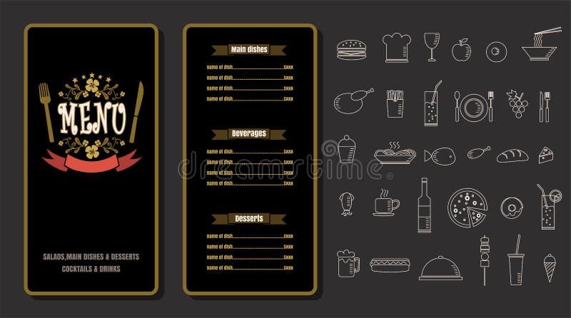Design för tappning för restaurangmatmeny med svart tavlabakgrund V royaltyfri illustrationer