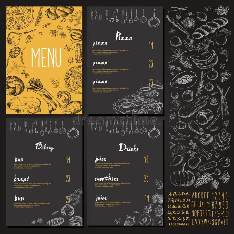 Design för tappning för uppsättning för restaurangmatmeny med den svart tavlan stock illustrationer