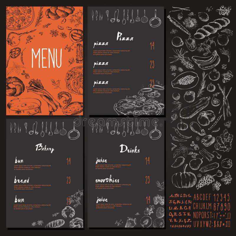 Design för tappning för uppsättning för restaurangmatmeny med den svart tavlan royaltyfri illustrationer