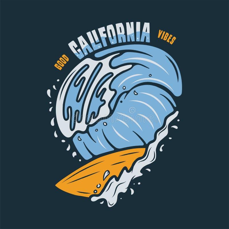 Design för tappningbränningtryck för t-skjorta och annat bruk Bra citationstecken och surfingbräda för Kalifornien Vibestypografi royaltyfri bild