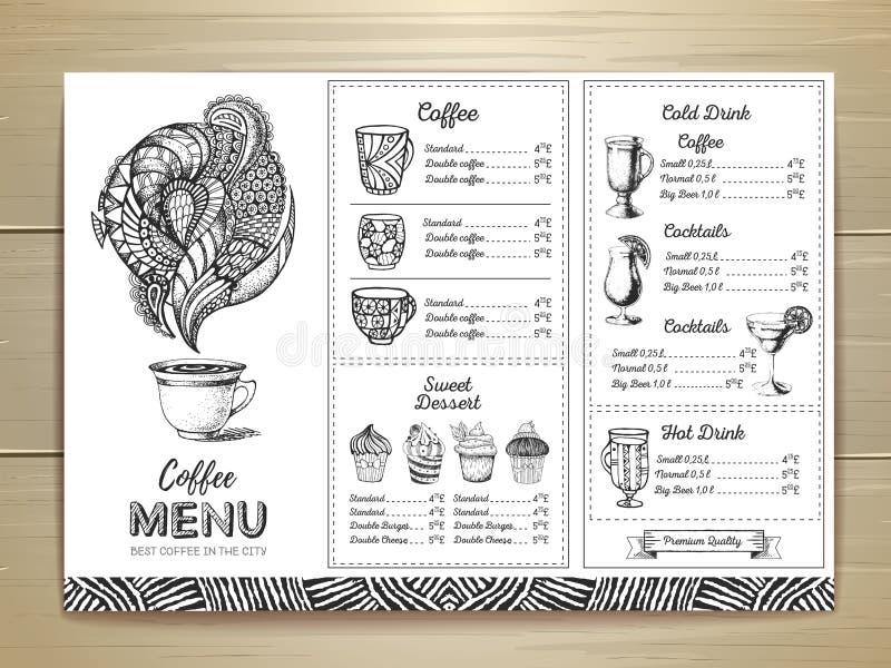 Design för tappningkaffemeny stock illustrationer