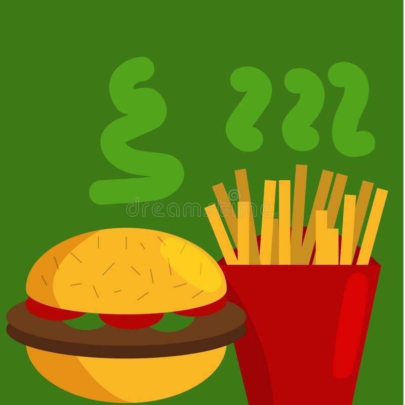 Design för tappningmataffisch med för hamburgare som och den färgrika snabbmatvektorn för småfiskar isoleras på bakgrund E vektor illustrationer