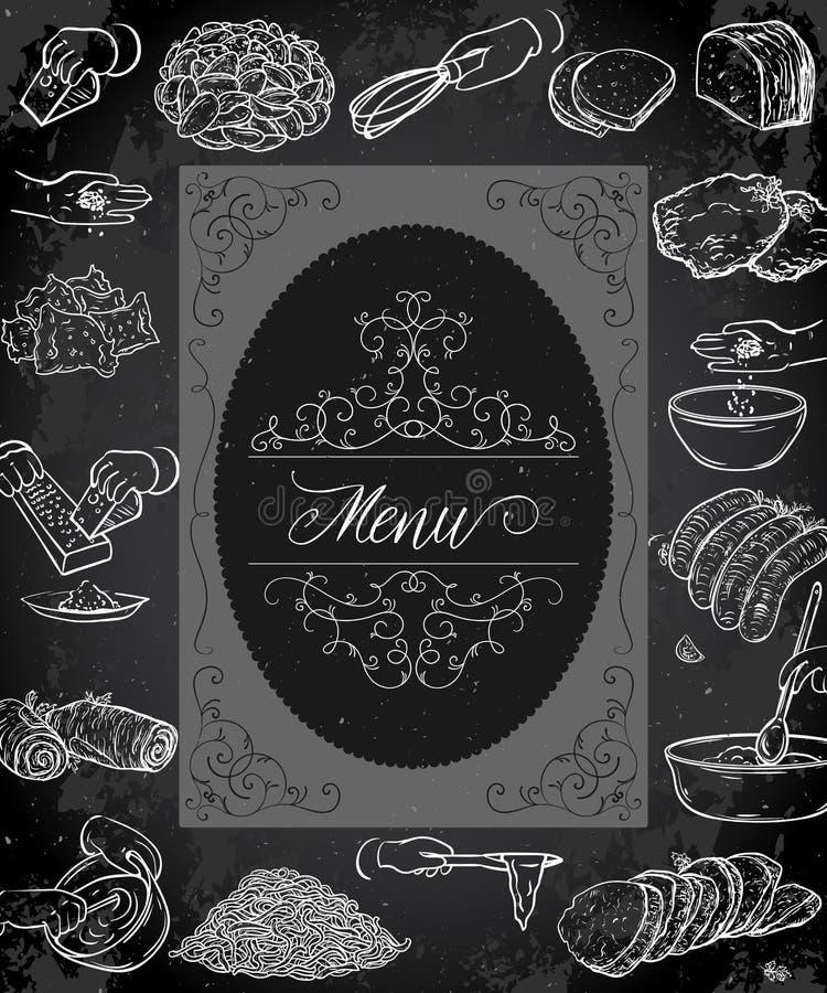 Design för tappningrestaurangmeny med den antika ramen, händer som förbereder mål och mat stock illustrationer