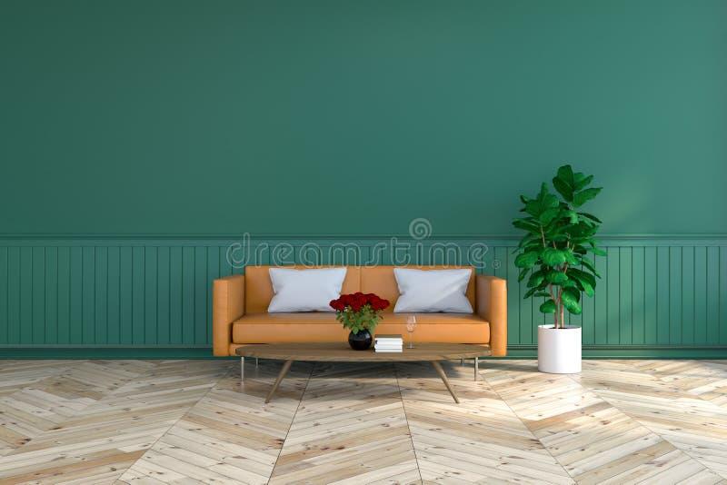 Design för tappningruminre, brun lädersoffa på den wood durken och djupt - den gröna väggen /3d framför arkivfoton