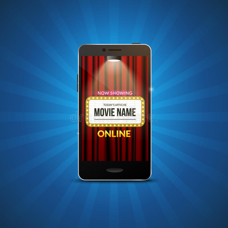 Design för teater för biofilm mobil Vektoronline-filmillustration Online-bokningbiljett app Smartphone med biogardiner stock illustrationer
