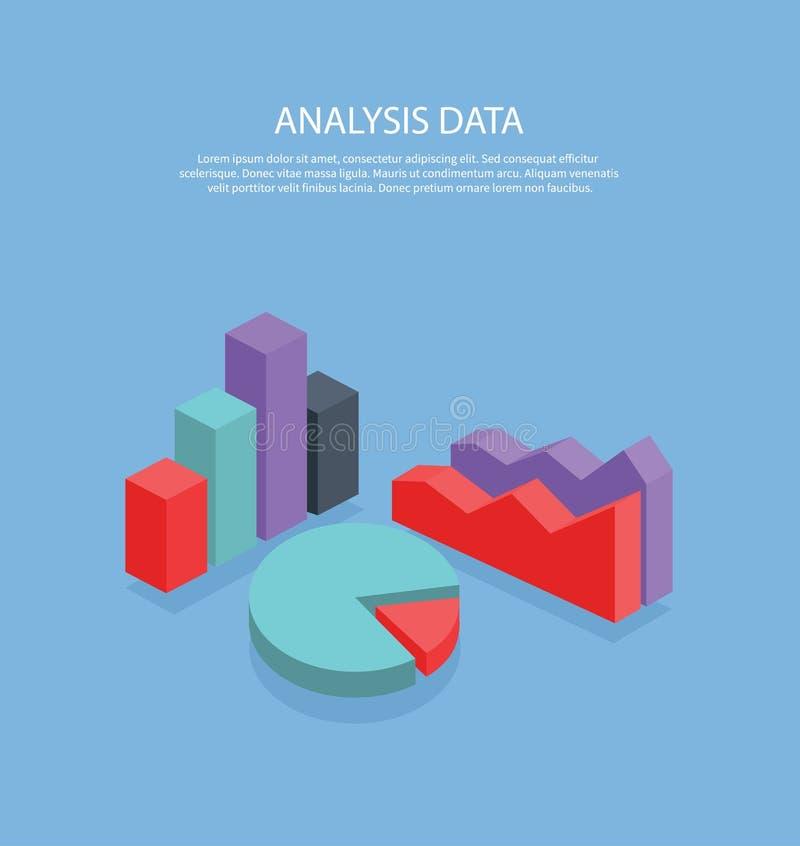 Design för tecken för lägenhet för pajdiagram isometriskt stock illustrationer