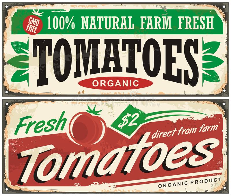 Design för tecken för tomattappning befordrings- stock illustrationer