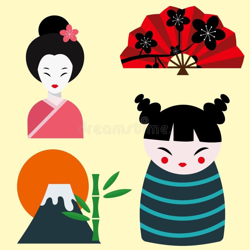 Design för tecken för kultur för samling för symboler för vektor för Japan gränsmärkelopp royaltyfri illustrationer