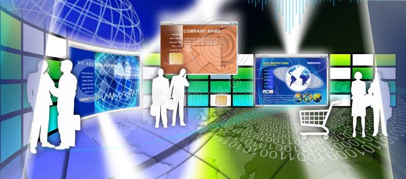 Design för teknologiwebsitesida royaltyfri illustrationer