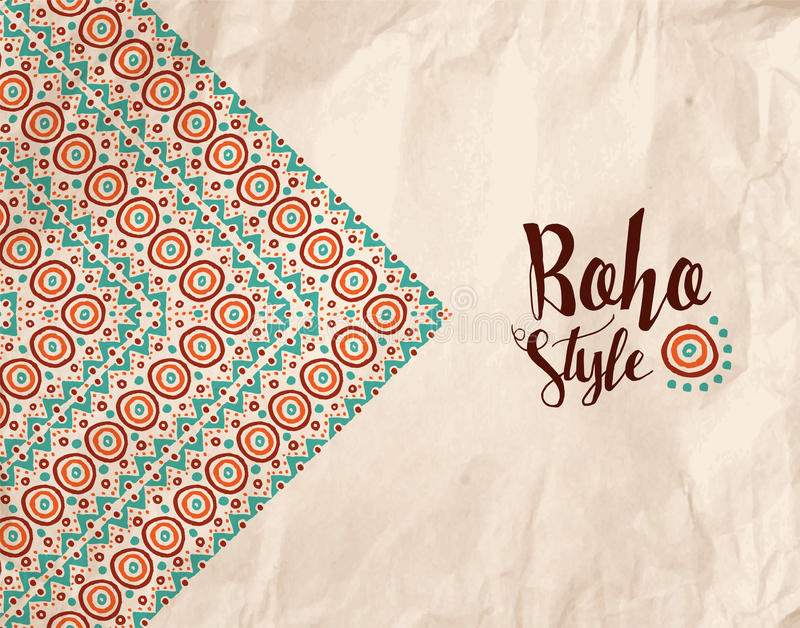 Design för textur för Boho stilpapper stam- handgjord royaltyfri illustrationer