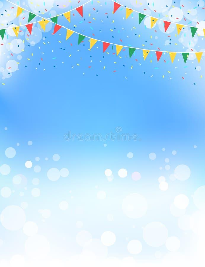 Design för themed buntings för vår och för blå himmel stock illustrationer