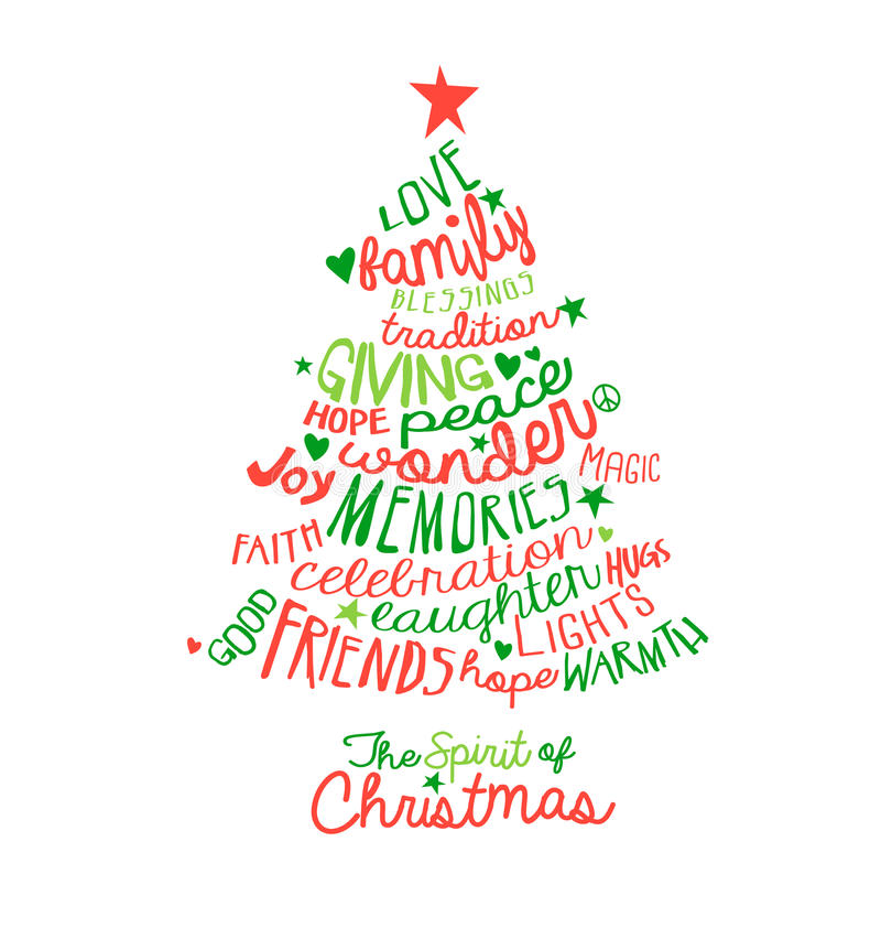 Design för träd för julkortordmoln stock illustrationer