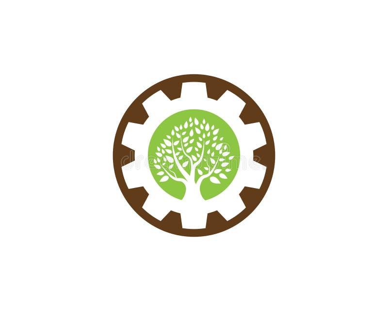 Design för trädsymbolslogo stock illustrationer