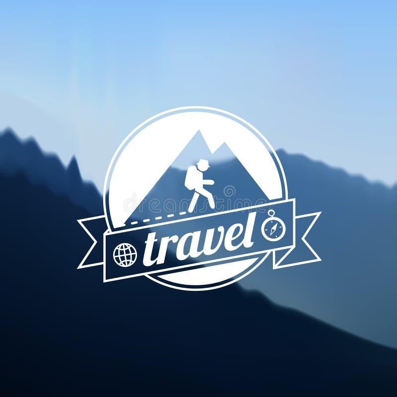 Design för turismlopplogo stock illustrationer