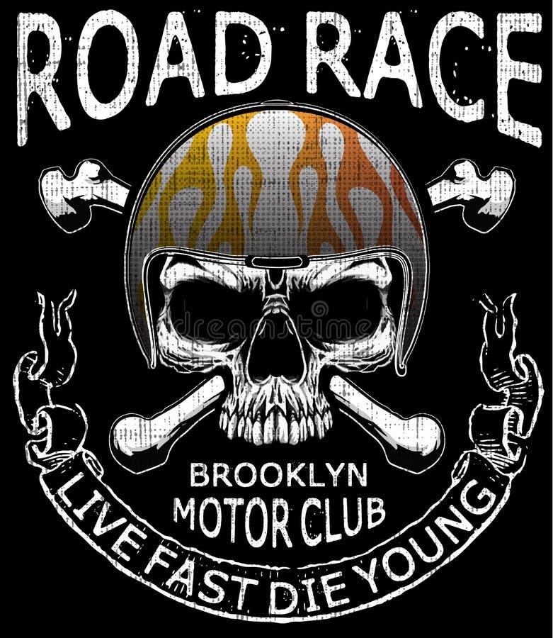 Design för typografi för utslagsplats för motorcykelhjälmskalle grafisk stock illustrationer
