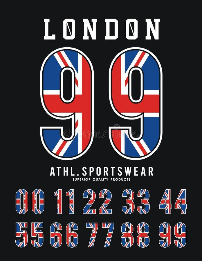 Design för typografi för UK för flagga för London uppsättningnummer stock illustrationer