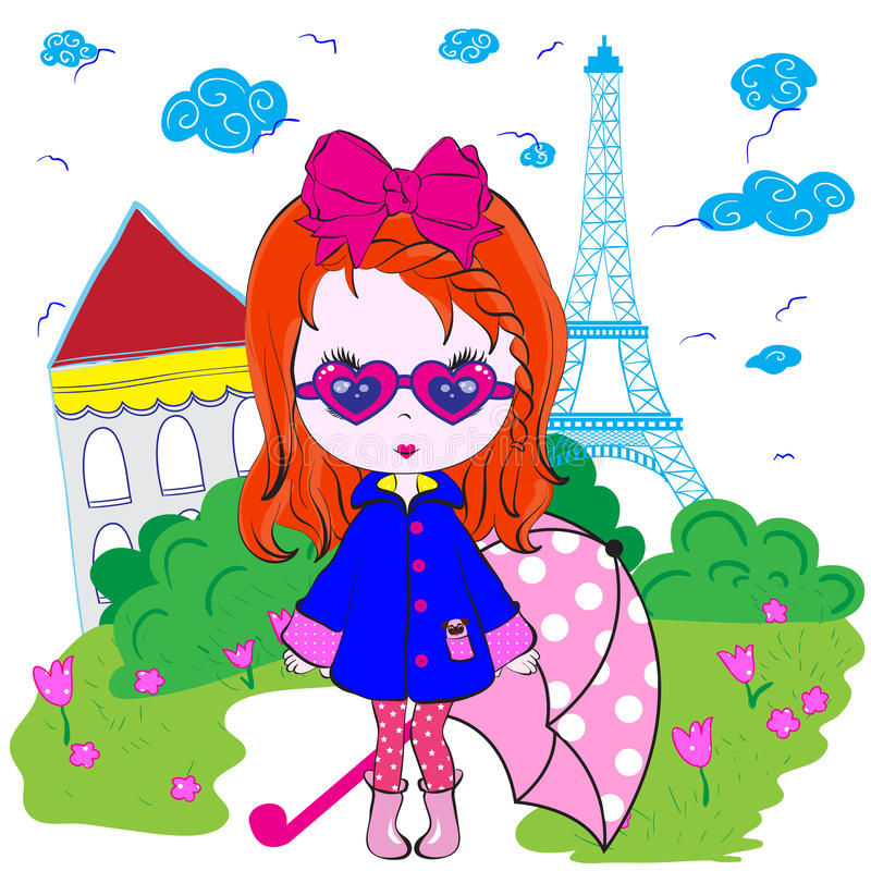 Design för ungeflickaParis tonårs- T skjorta vektor illustrationer