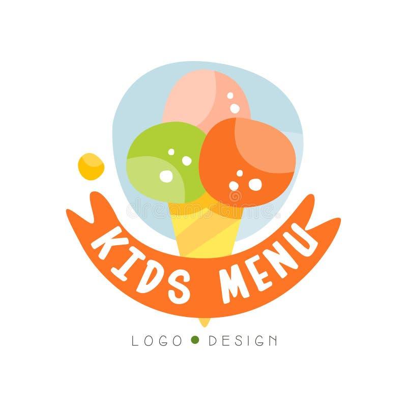 Design för ungemenylogo, sund färgrik idérik mall för organisk mat med glassvektorillustrationen stock illustrationer