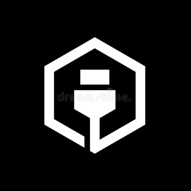 Design för USB kabelsymbol som kombineras med sexhörning, Logo Elements, vektorillustrationdesign royaltyfri illustrationer