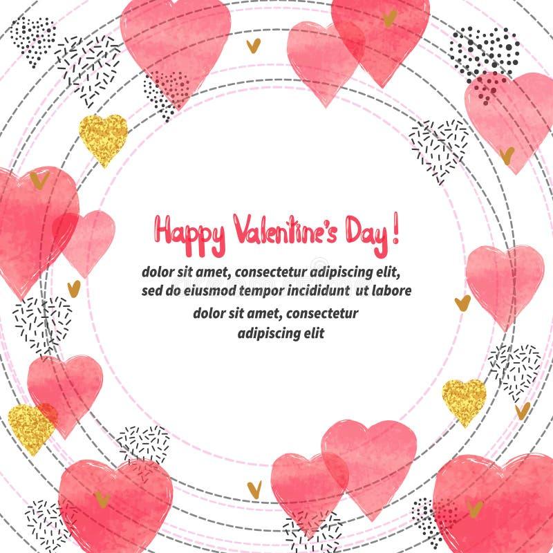 Design för valentindagkort Cirkelram med röda hjärtor för vattenfärg stock illustrationer