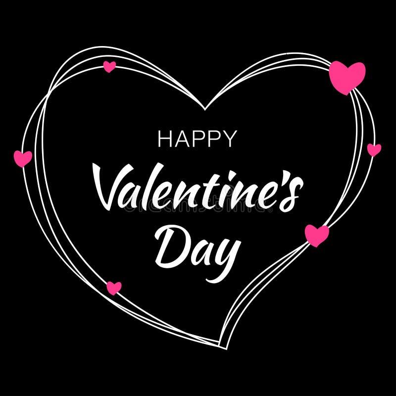 Design för valentindagkort Hjärtakonturn från klottrar linjer och bokstäver på svart bakgrund med rosa hjärtor vektor illustrationer