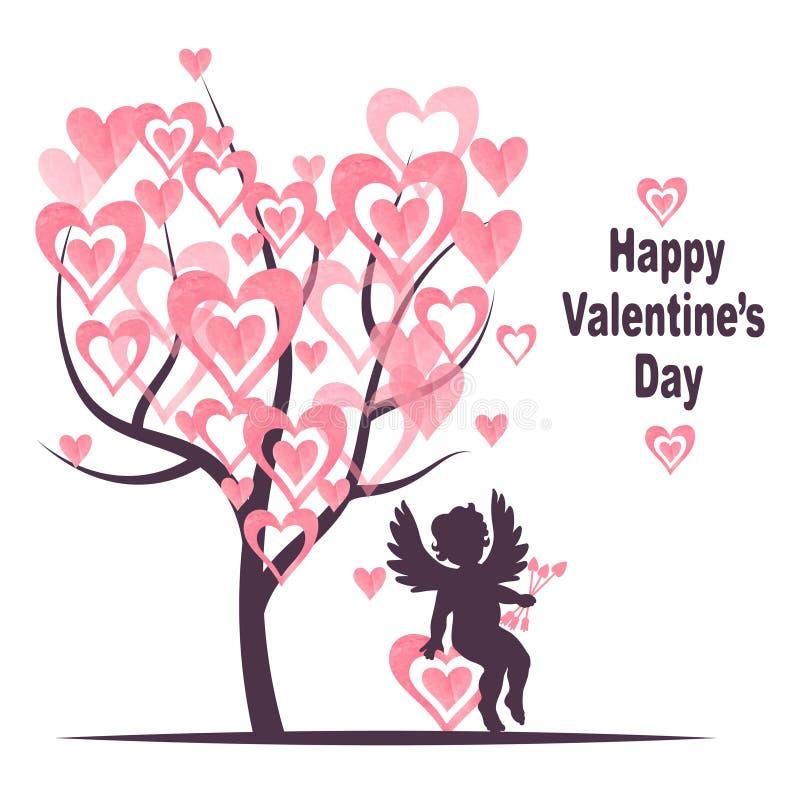 Design för valentindagkort med förälskelseträdet och den gulliga kupidonet vektor illustrationer