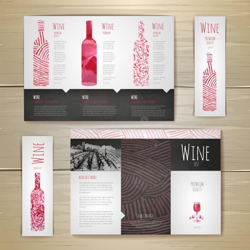 Design för vattenfärgvinbegrepp vektor för mall för identitet för illustrationsaffär företags royaltyfri illustrationer