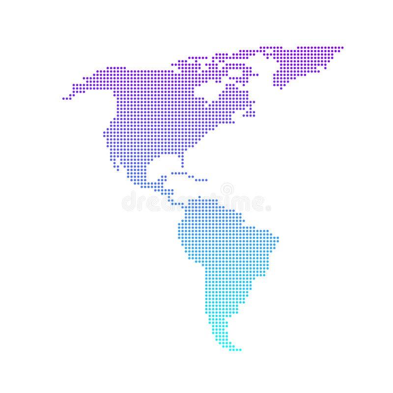 Design för vektor för färgrik prickig nord- och Sydamerika översikt plan vektor illustrationer