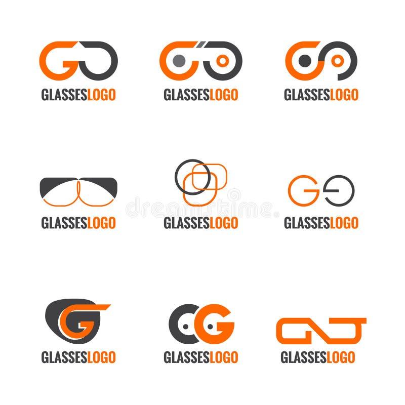 Design för vektor för apelsin- och grå färgexponeringsglaslogo fastställd stock illustrationer