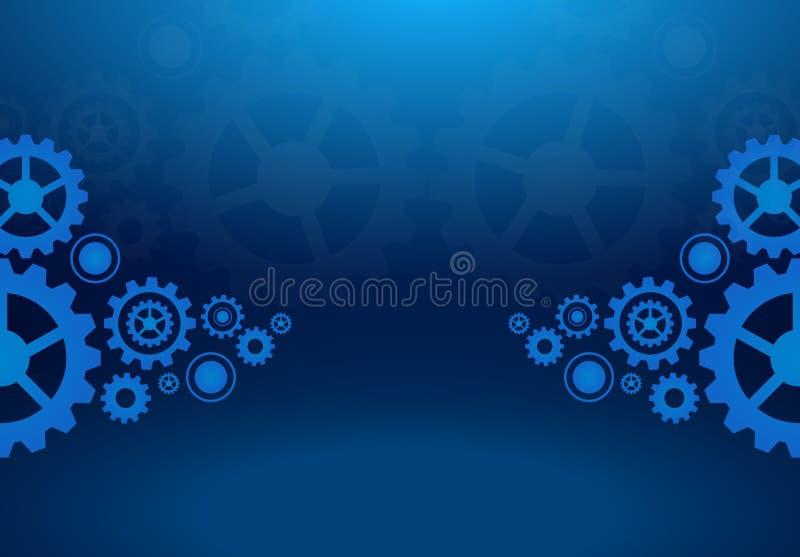 Design för vektor för bakgrund för kuggehjul blå mörk royaltyfri illustrationer