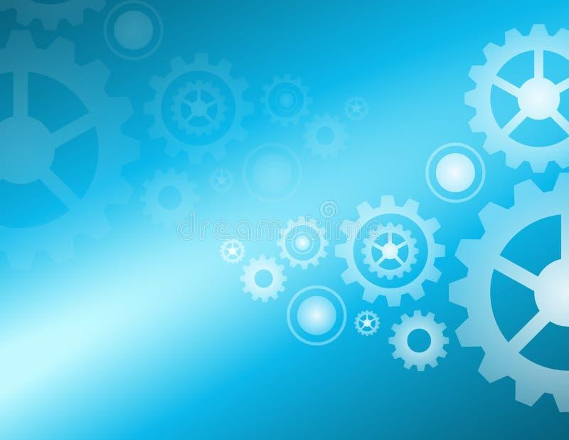 Design för vektor för bakgrund för ljus för kuggehjul blå royaltyfri illustrationer
