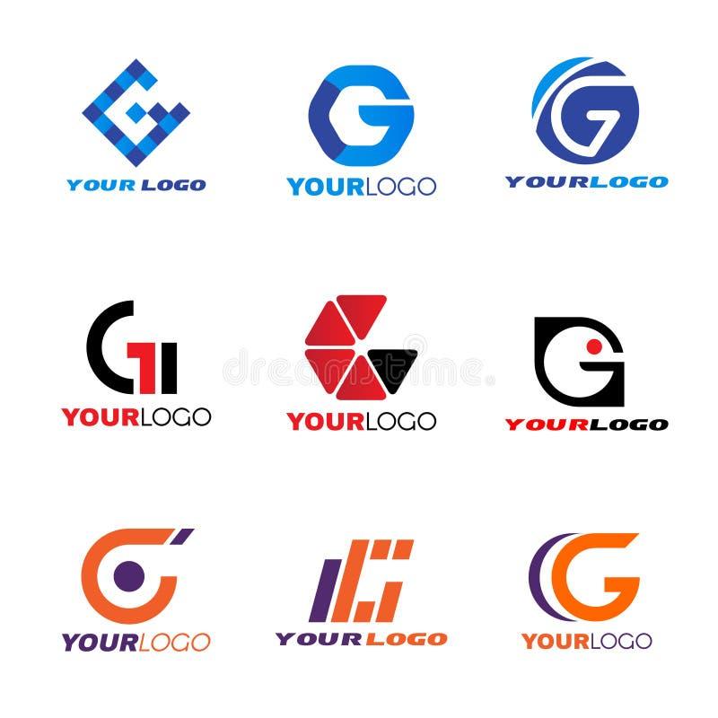 Design för vektor för bokstavsG-logo fastställd royaltyfri illustrationer