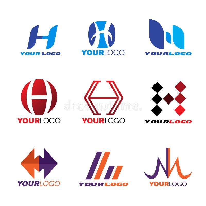 Design för vektor för bokstavsH-logo fastställd stock illustrationer