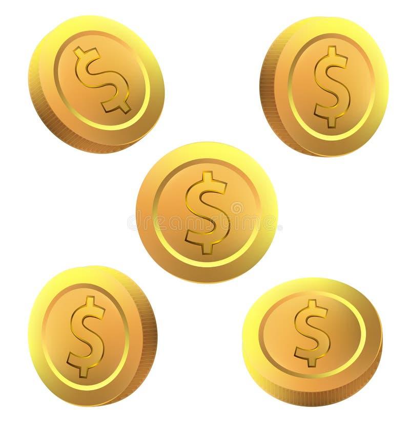 Design för vektor för guld- dollarmynt fastställd på vit bakgrund vektor illustrationer