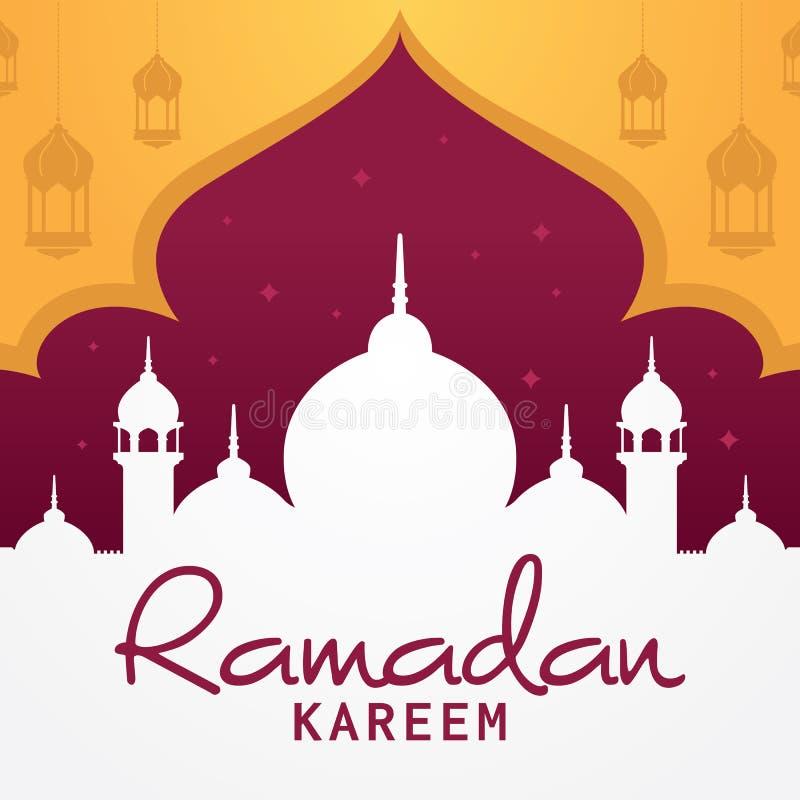 Design för vektor för kort för Ramadankareemhälsning islamisk stock illustrationer