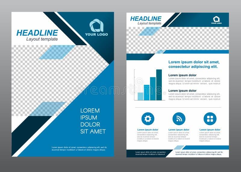 Design för vektor för signal för blått för sida för räkning för format A4 för orienteringsreklambladmall stock illustrationer