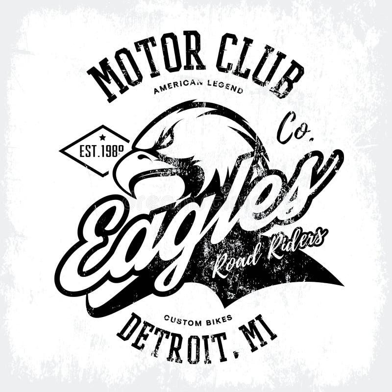 Design för vektor för tryck för utslagsplats för klubba för motor för cykel för amerikansk rasande örn för tappning som beställni stock illustrationer