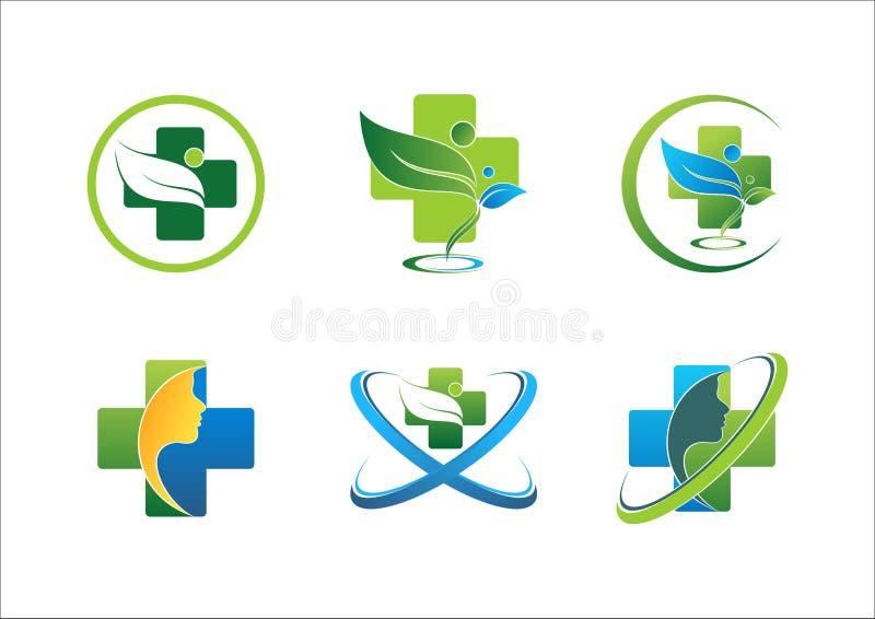 Design för vektor för uppsättning för symbol för medicinskt farmaceutiskt vård- för logowellnessfolk blad för gräsplan sund stock illustrationer