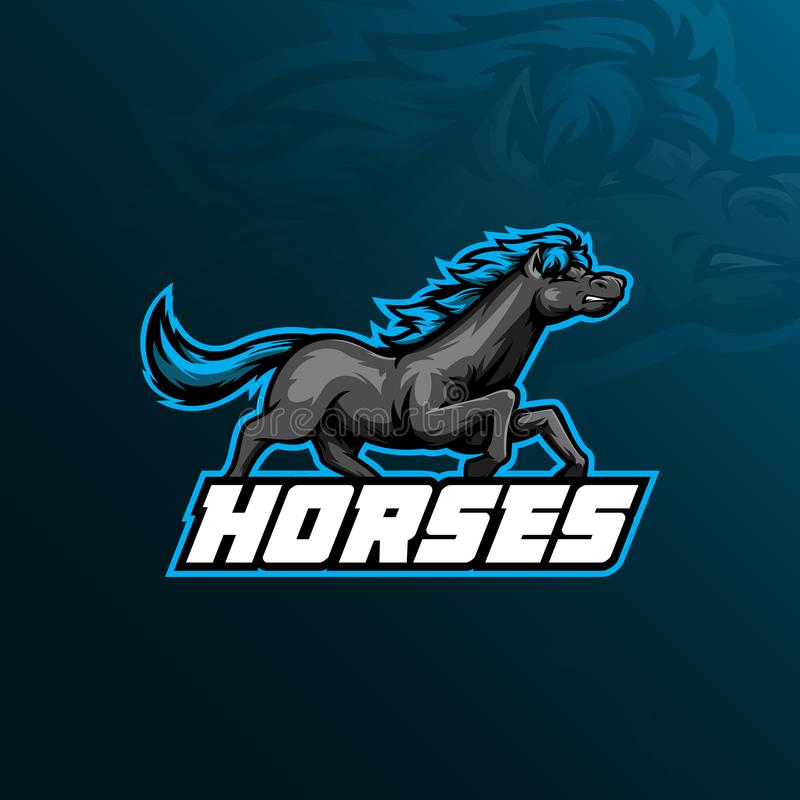 Design för vektor för hästmaskotlogo med modern illustrationbegreppsstil för emblem, emblem och t-skjortautskrift Hästillustratio vektor illustrationer