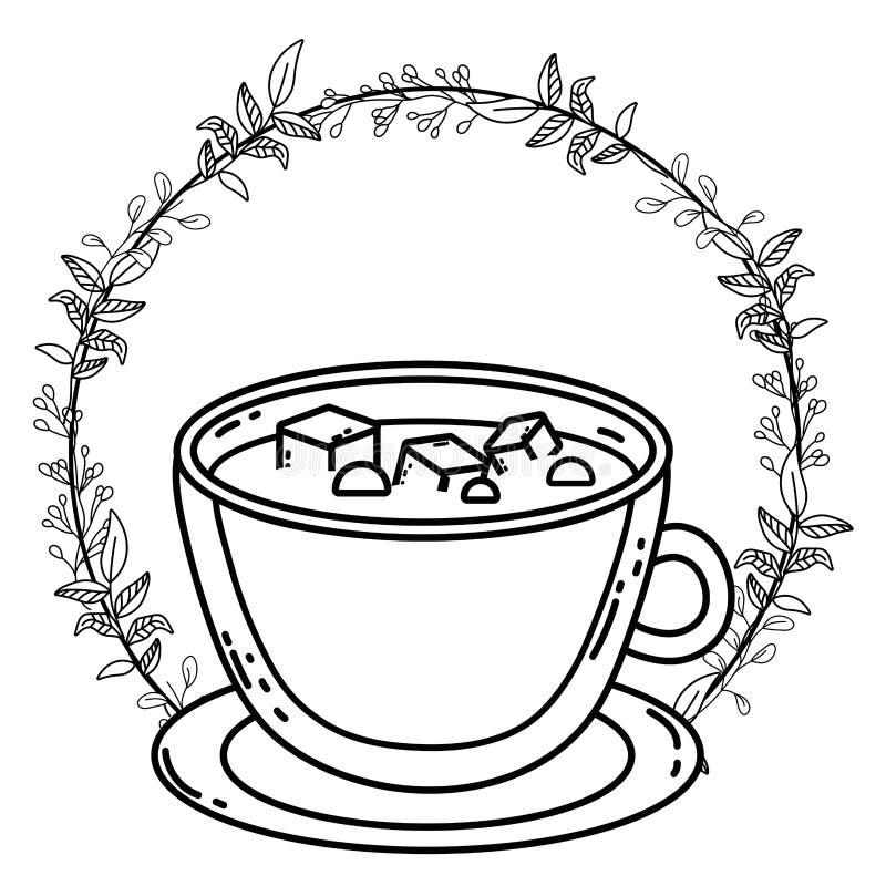 Design för vektor för kub för kaffekopp och socker vektor illustrationer