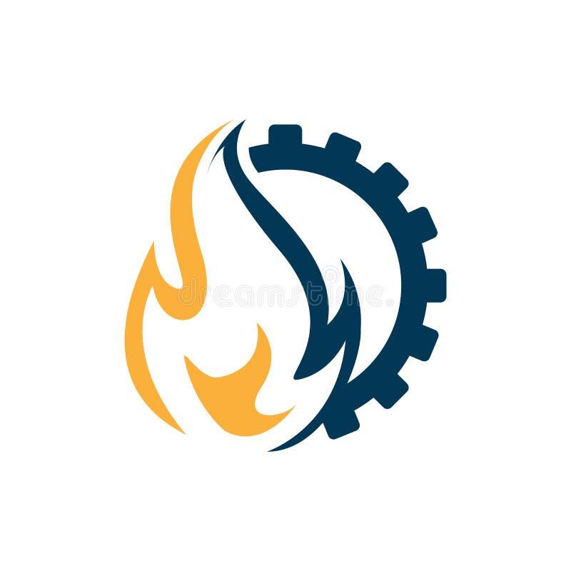 Design för vektor för logo för flamma- och kugghjulkombination industriell vektor illustrationer
