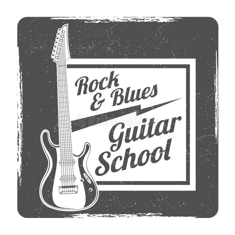 Design för vektor för logo för gitarrskolagrunge stock illustrationer