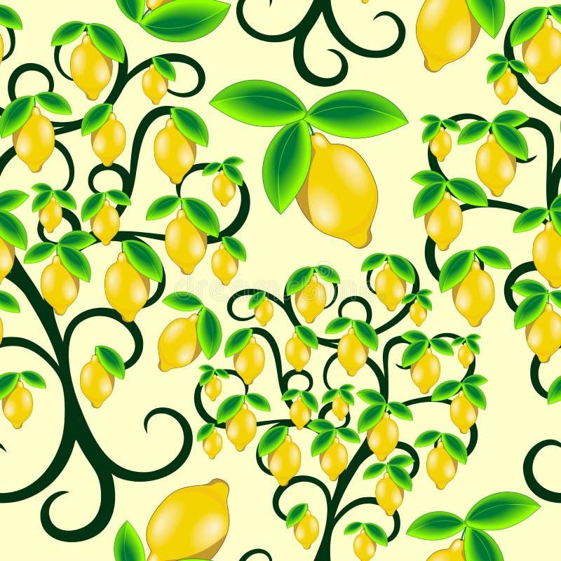 Design för vektor för modell för saftig frukt för sommar för citronträd sömlös royaltyfri illustrationer