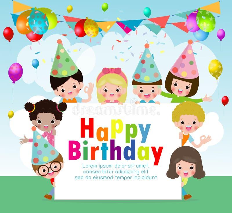 Design för vektor för parti för lycklig födelsedag med ungar som bär födelsedaghatten i vitt tomt utrymme för meddelande och text royaltyfri illustrationer